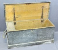 ANTIQUE PINE LIDDED CAPTAIN'S CHEST with interior candle box and rope carry handles, 41cms H,