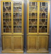 TWIN MAHOGANY GLAZED TOP BOOKCASES, 199.5cms H, 87cms W, 40cms Dboth having double