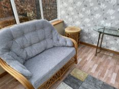 MODERN CONSERVATORY SUITE comprising 2 x two seater settees, two armchairs and occasional tables