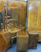 VINTAGE WALNUT & OTHER 9 PIECE BEDROOM SUITE consisting triple wardrobe, 194cms H, 156cms W, 57cms
