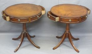 REPRODUCTION MAHOGANY DRUM TYPE OCCASIONAL TABLES, a pair, circular cross-banded tops having two