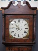 GRIFFITH OWEN LLANRWST MAHOGANY LONGCASE CLOCK, 14in square dial with painted spandrels, Roman