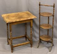 OAK BARLEY TWIST OCCASIONAL FURNITURE ITEMS (2) including a piecrust top side table with carved