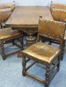 EXCELLENT QUALITY OAK DRAW LEAF DINING TABLE and five leather seated dining chairs, the table with