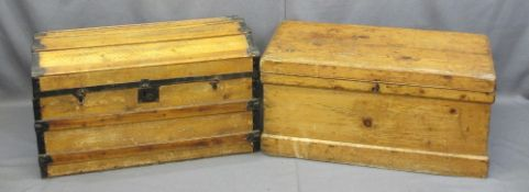 VINTAGE STRIPPED PINE LIDDED CHEST and an iron banded domed top example, both with iron carry
