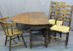 ANTIQUE OAK GATE-LEG DINING TABLE, two ladderback chairs, string seated and a modern smoker's bow
