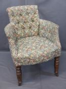 VINTAGE BUTTON UPHOLSTERED BEDROOM ARMCHAIR, floral upholstered on turned oak front supports with