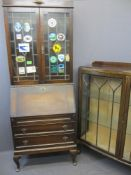 VINTAGE OAK BUREAU BOOKCASE and a walnut two door china display cabinet, 200cms H, 77cms max W,