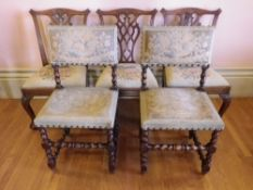 ANTIQUE MAHOGANY & BARLEY TWIST OAK HALL/SALON CHAIRS, (3 + 2), the mahogany examples Chippendale