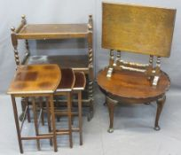VINTAGE FURNITURE PARCEL, four items to include a mahogany nest of three side tables, 53.5cms H,