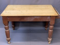 VICTORIAN PINE SINGLE DRAWER FARMHOUSE KITCHEN TABLE, stripped top over a painted base having