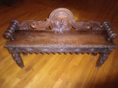 VICTORIAN CARVED OAK HALL BENCH, 77.5cms H, 120cms W, 28cms seat depth