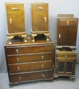 VINTAGE BEDROOM FURNITURE PARCEL, five items including a four drawer oak chest and matching