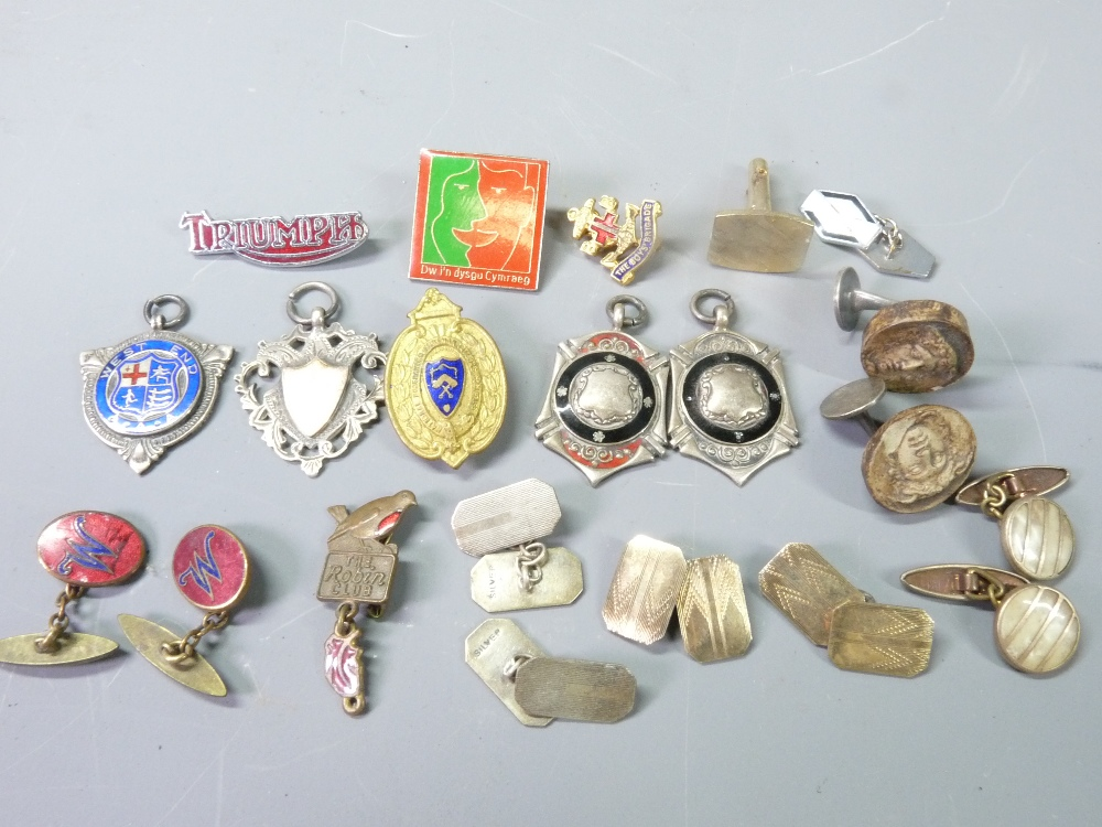 SILVER FOBS, BADGES & GENTLEMAN'S CUFFLINKS, a mixed selection including four hallmarked silver