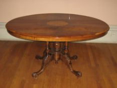 LOO TABLE, Victorian, oval mahogany top having floral and urn inlays with a large centre fan inlay