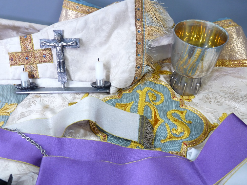 ECCLESIASTICAL EMBROIDERED VESTMENT, stole and associated cloths, silver bread box, EPNS chalice and - Image 2 of 7