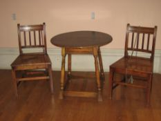ANTIQUE OAK FARMHOUSE STYLE CHAIRS, A PAIR, with gently curved back rail and four narrow square