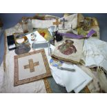 ECCLESIASTICAL EMBROIDERED VESTMENT, stole and associated cloths, silver bread box, EPNS chalice and