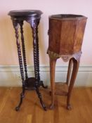 GOOD VICTORIAN WALNUT PLANTER STAND with metal liner and a reproduction mahogany example, 96cms