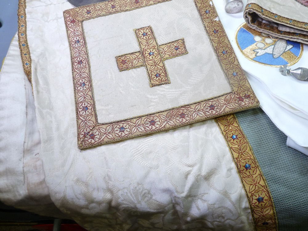 ECCLESIASTICAL EMBROIDERED VESTMENT, stole and associated cloths, silver bread box, EPNS chalice and - Image 6 of 7