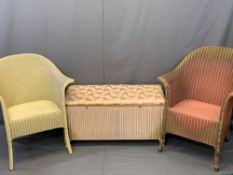 LLOYD LOOM LUSTY FURNITURE, 3 items to include two armchairs, one pink and gilt, the other cream