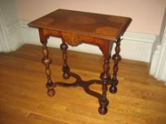 LATE 19TH/EARLY 20TH CENTURY DUTCH STYLE OBLONG TABLE having fine corner and centre inlays with