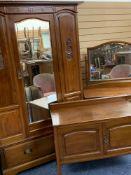 CIRCA 1900 THREE PIECE MAHOGANY BEDROOM SUITE consisting of single mirrored door wardrobe