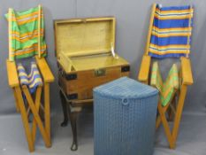 VINTAGE FURNITURE PARCEL, five items to include a small iron banded trunk with interior candle