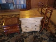 ANTIQUE PINE CHEST COMMODE, Victorian mahogany step commode and a mahogany towel airer, 61.5cms H,