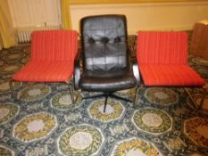 MID-CENTURY CHROME & UPHOLSTERED COMFORT CHAIRS and a vintage style black leather effect swivel