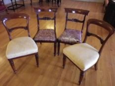 ANTIQUE ROSEWOOD & MAHOGANY SALON/SIDE CHAIRS, TWO PAIRS, both with curved top rails, carved cross