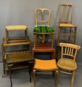 VINTAGE & LATER FURNITURE PARCEL, 9 items to include three tier oak barley twist tea trolley