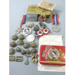 WWI & II MEMORABILIA including an unmarked WWII medals, pair in original posting box to W R Gough,