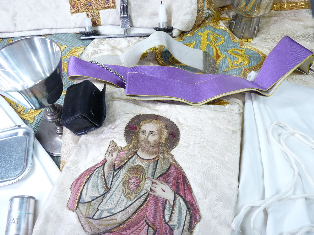 ECCLESIASTICAL EMBROIDERED VESTMENT, stole and associated cloths, silver bread box, EPNS chalice and - Image 5 of 7