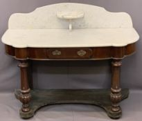 VICTORIAN MAHOGANY DUCHESS TYPE MARBLE TOP WASHSTAND, the shaped top with central shelf splashback