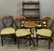 VINTAGE FURNITURE PARCEL, 6 items to include three Victorian mahogany balloon back salon chairs with
