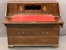 GEORGE IV MAHOGANY FALL FRONT BUREAU having a well fitted interior of central pigeonholes with