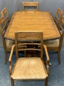 REPRODUCTION EXTENDING DINING TABLE & SIX (4 + 2) CHAIRS, 74cms H, 160cms W, 99cms D closed,