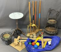 GARDEN ITEMS - two-tier metal planter and a bicycle form planter, a Kroket game, bagged, a vintage