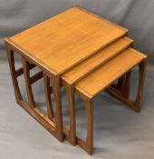 MID-CENTURY G PLAN TEAK NEST OF THREE TABLES, 49cms H, 53.5cms W, 43cms D the largest