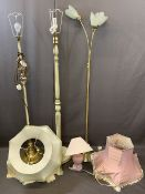 VINTAGE & LATER STANDARD LAMPS (3) with various shades and a single pink pottery table lamp E/T