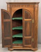 REGENCY MAHOGANY TWO DOOR WALL HANGING CORNER CUPBOARD, the twin arched six panel doors with brass H