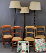 FURNITURE PARCEL (9 pieces) to include four cane chairs, three standard lamps with shades, one is