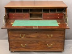 CIRCA 1850 MAHOGANY SECRETAIRE CHEST, the top drawer front inlaid with walnut and boxwood panels