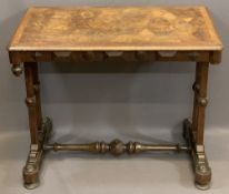 GOTHIC TYPE HALL TABLE with crossbanded and segmented walnut inlaid top over twin end supports and