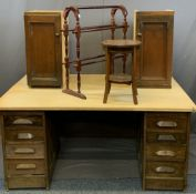 VINTAGE FURNITURE ENSEMBLE to include the pedestal sections of an oak desk, now with modern board
