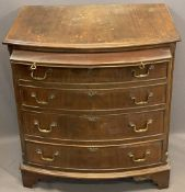 REPRODUCTION MAHOGANY BOW FRONT BACHELOR'S CHEST with top pull out brush slide over four graduated