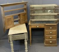 VINTAGE FURNITURE GROUP, 4 items to include a neat oak desk on twin-end supports and single drawer