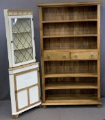 ULTRA MODERN LARGE BOOKCASE and a painted glass top corner display cabinet, the bookcase with