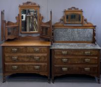CIRCA 1900 TWO PIECE BEDROOM SUITE comprising triple mirrored and cabinet top dressing chest of